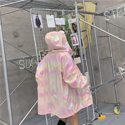Loose Holographic Jacket Harajuku Long Coat #JU2708-Juku Store