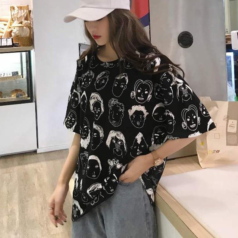 Loose Short Sleeve Graphic Print T-Shirt Korean Fashion Top #JU2706-Black-M-Juku Store