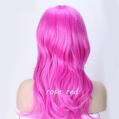Loose Wavy Synthetic Cosplay Wig 56cm #JU2414-Rose Red-Juku Store