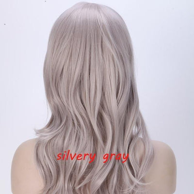 Loose Wavy Synthetic Cosplay Wig 56cm #JU2414-Silver Gray-Juku Store