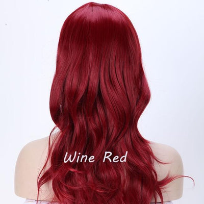 Loose Wavy Synthetic Cosplay Wig 56cm #JU2414-Wine Red-Juku Store