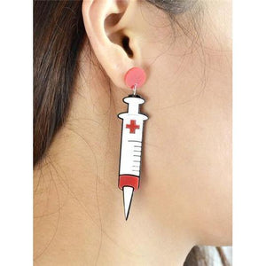 Menhera Yami Kawaii Syringe Dangle Earrings Medical Needles #JU2028-Juku Store