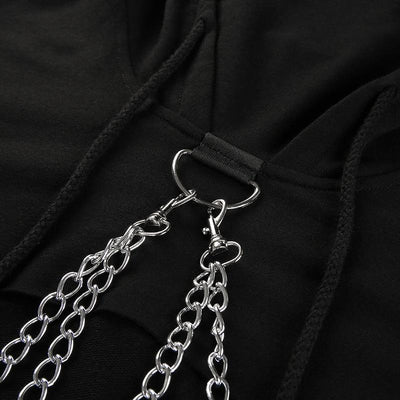 Metal Chain Crop Top Hoodie Harajuku Punk Sweatshirt #JU2449-Juku Store