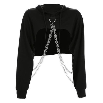 Metal Chain Crop Top Hoodie Harajuku Punk Sweatshirt #JU2449-Black-L-Juku Store