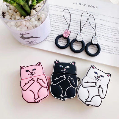 Middle Finger Cat AirPods Protective Cover Kawaii Earphone Case #JU2574-Juku Store