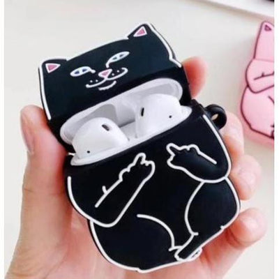 Middle Finger Cat AirPods Protective Cover Kawaii Earphone Case #JU2574-Black-Juku Store