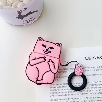 Middle Finger Cat AirPods Protective Cover Kawaii Earphone Case #JU2574-Pink-Juku Store