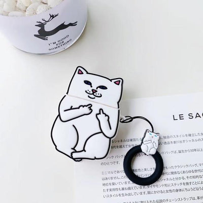 Middle Finger Cat AirPods Protective Cover Kawaii Earphone Case #JU2574-White-Juku Store