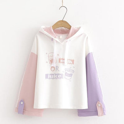 Milk or Juice Pastel Hoodie Kawaii Sweater #JU2642-L-Juku Store