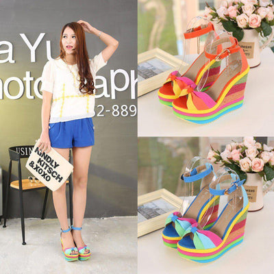 Multicolor Patchwork Sandals Rainbow Pastel Wedge Shoes #JU2823-Juku Store