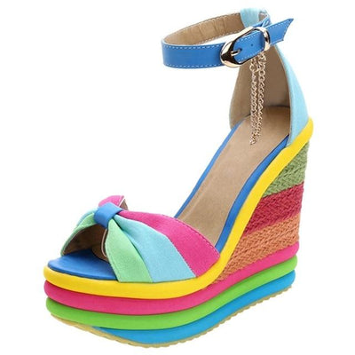 Multicolor Patchwork Sandals Rainbow Pastel Wedge Shoes #JU2823-Blue-36-Juku Store