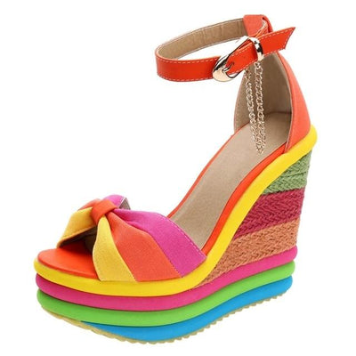 Multicolor Patchwork Sandals Rainbow Pastel Wedge Shoes #JU2823-Orange-39-Juku Store