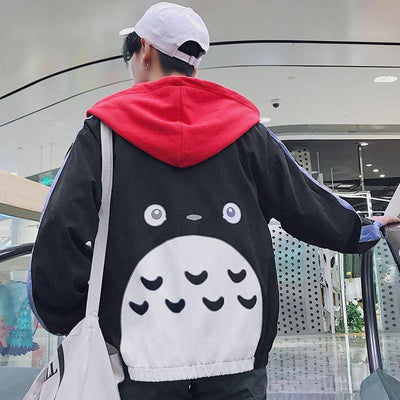 My Neighbor Totoro Anime Windbreaker Jacket Hoodie Unisex [3 Colors] #JU1970-Black-XL-Juku Store