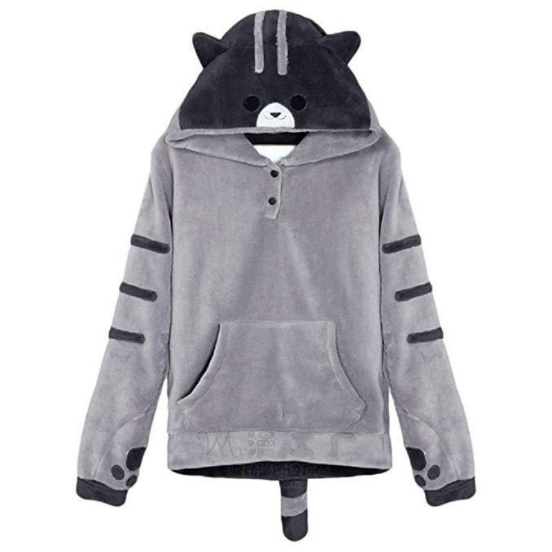Neko Atsume Cat Ears And Tail Hooded Sweatshirt #JU2385-M-Juku Store