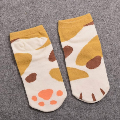 Neko Atsume Cute Cat Claw Short Ankle Socks [5 Styles] #JU1845-Spot Ginger-Juku Store