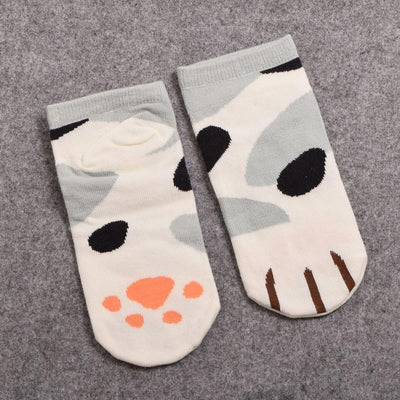 Neko Atsume Cute Cat Claw Short Ankle Socks [5 Styles] #JU1845-Spot Grey-Juku Store