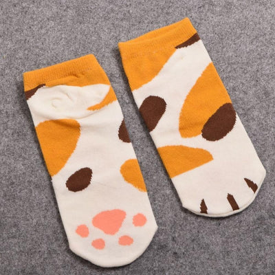 Neko Atsume Cute Cat Claw Short Ankle Socks [5 Styles] #JU1845-Spot Orange-Juku Store