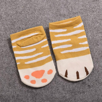 Neko Atsume Cute Cat Claw Short Ankle Socks [5 Styles] #JU1845-Striped Ginger-Juku Store