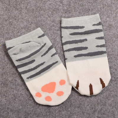 Neko Atsume Cute Cat Claw Short Ankle Socks [5 Styles] #JU1845-Striped Grey-Juku Store