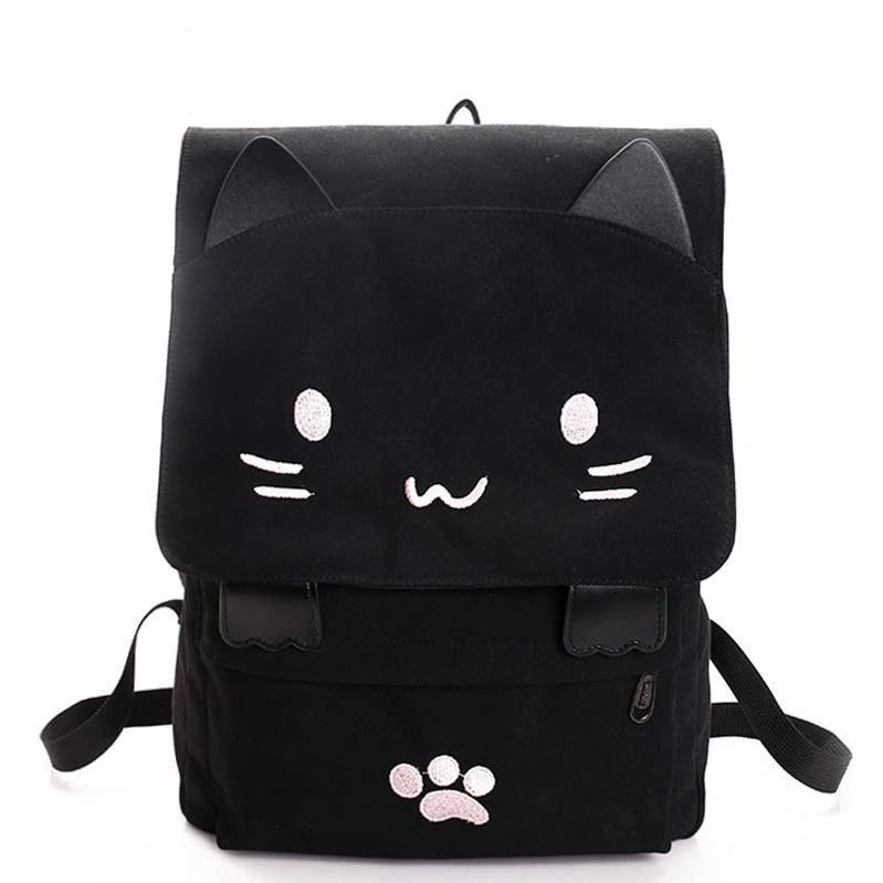 Neko Cat Canvas Backpack Kawaii School Bag #JU2404-Juku Store