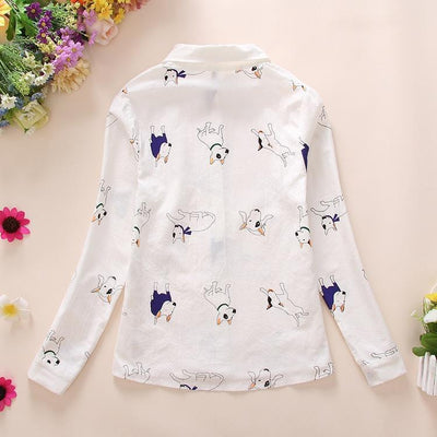 (NEW!) Cartoon Print Long Sleeve Blouse [3 Styles] #JU2315-Juku Store
