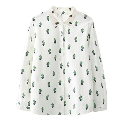 (NEW!) Cartoon Print Long Sleeve Blouse [3 Styles] #JU2315-Cactus-M-Juku Store