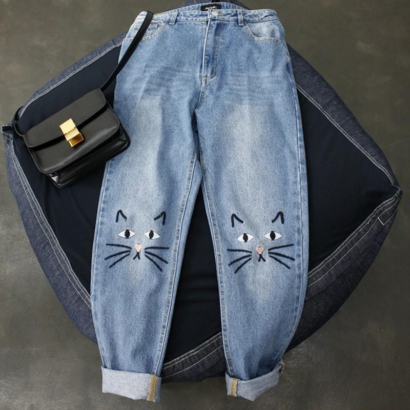 (NEW!) Kawaii Cat Face High Waist Jeans #JU2035-S-Juku Store