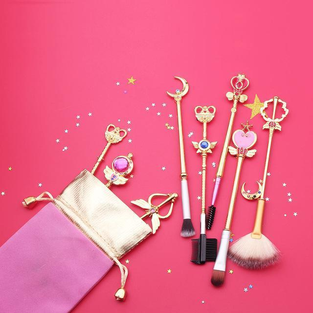 (NEW!) Sailor Moon Makeup Brush Set [2 Colors] #JU1983-Gold-Juku Store