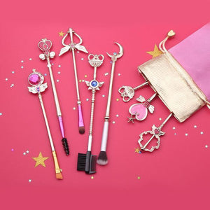 (NEW!) Sailor Moon Makeup Brush Set [2 Colors] #JU1983-White Gold-Juku Store