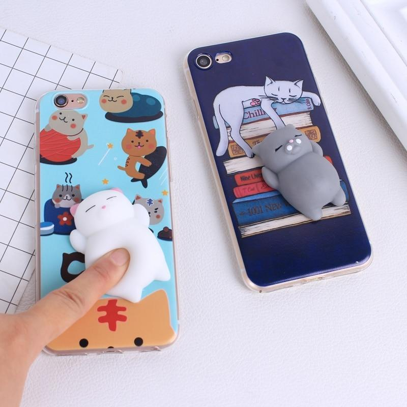 (NEW!) Squishy Cat Soft Silicone iPhone Case [3 Styles] #JU1850-Juku Store