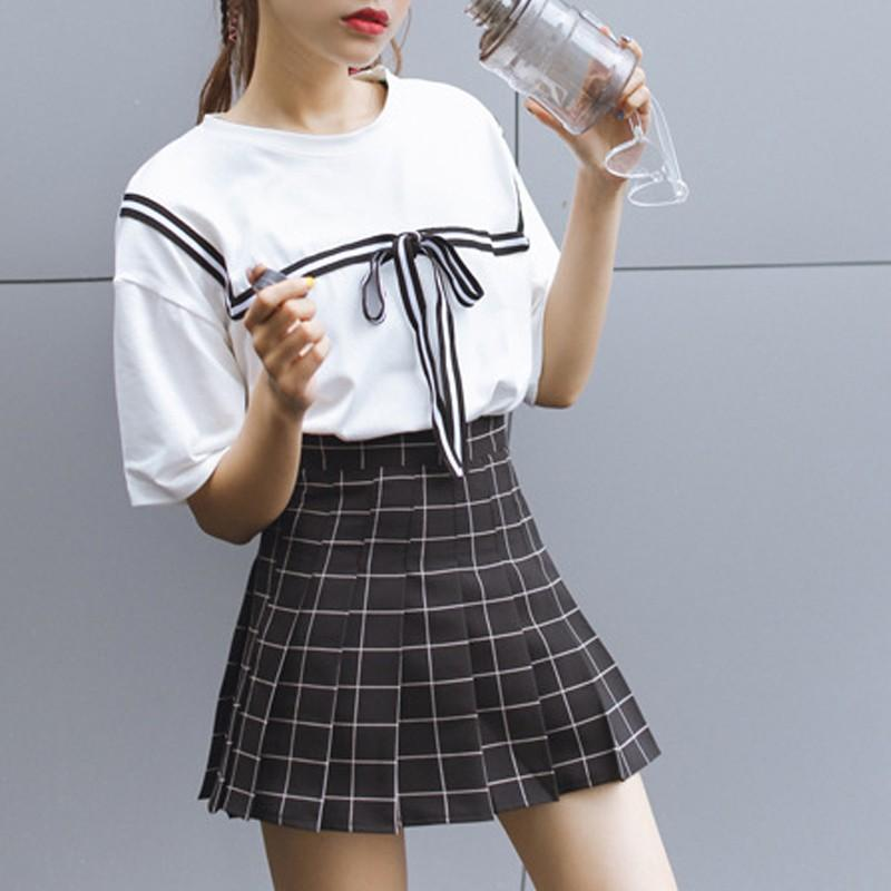 (NEW!) Western Style Grid-Pattern A-Line Skirt [3 Colors] #JU1994-Juku Store