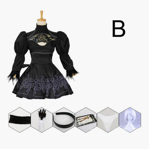 Nier Automata 2B YoRHa Type B Cosplay Costume Set [2 Sets] #JU1969-Package B w/ Wig-S-Juku Store