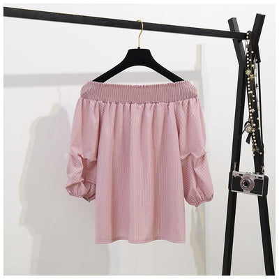 Off Shoulder Half Lantern Sleeve Blouse Set Korean Two Piece Outfit #JU2778-Juku Store