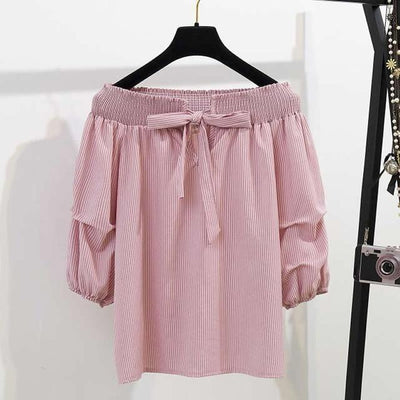 Off Shoulder Half Lantern Sleeve Blouse Set Korean Two Piece Outfit #JU2778-Pink Blouse-XL-Juku Store