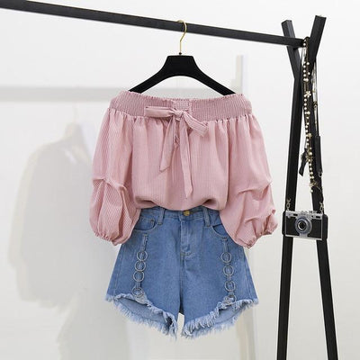 Off Shoulder Half Lantern Sleeve Blouse Set Korean Two Piece Outfit #JU2778-Pink Set-M-Juku Store