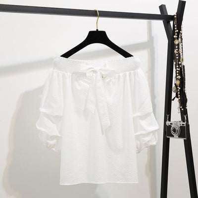 Off Shoulder Half Lantern Sleeve Blouse Set Korean Two Piece Outfit #JU2778-White Blouse-M-Juku Store