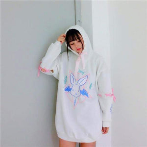 Over-Sized Yami Kawaii Gothic Lolita Rabbit Star Pentacle Hoodie Sweatshirt [2 Colors] #JU1929-Juku Store