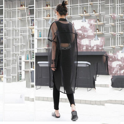 Oversized Transparent Mesh Patchwork Blouse Korean Streetwear #JU2669-Juku Store