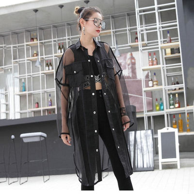 Oversized Transparent Mesh Patchwork Blouse Korean Streetwear #JU2669-Black-One Size-Juku Store