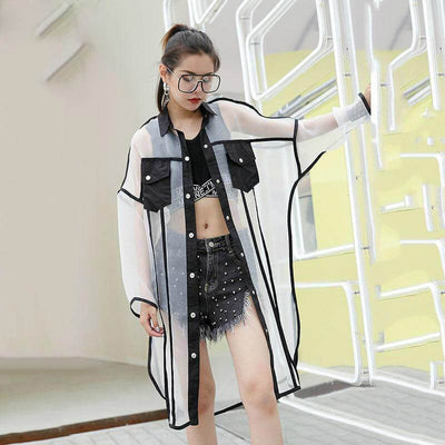 Oversized Transparent Mesh Patchwork Blouse Korean Streetwear #JU2669-White-One Size-Juku Store