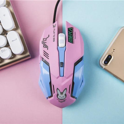 Overwatch D.VA Backlit Optical Gaming Mouse [4 Colors] #JU2181-Pink-Juku Store