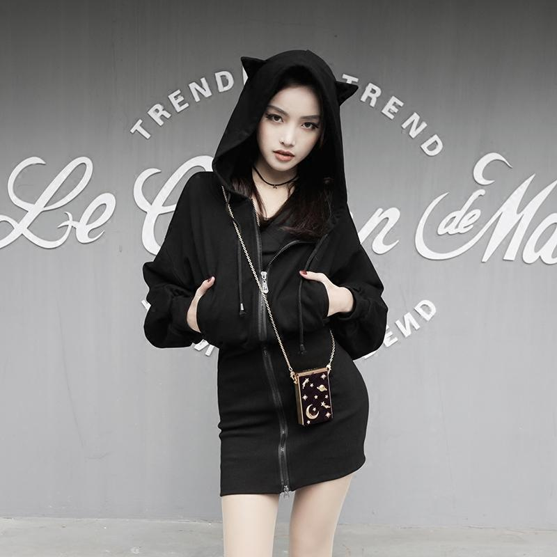Pastel Goth Cat Ear Hoodie Dress Punk Black Long Sweatshirt #JU2165-S-Juku Store