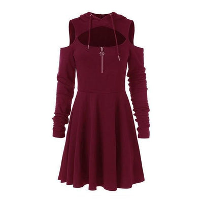 Pastel Goth Dress Off Shoulder Hooded Streetwear #JU2442-Burgundy-S-Juku Store
