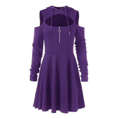 Pastel Goth Dress Off Shoulder Hooded Streetwear #JU2442-Purple-S-Juku Store