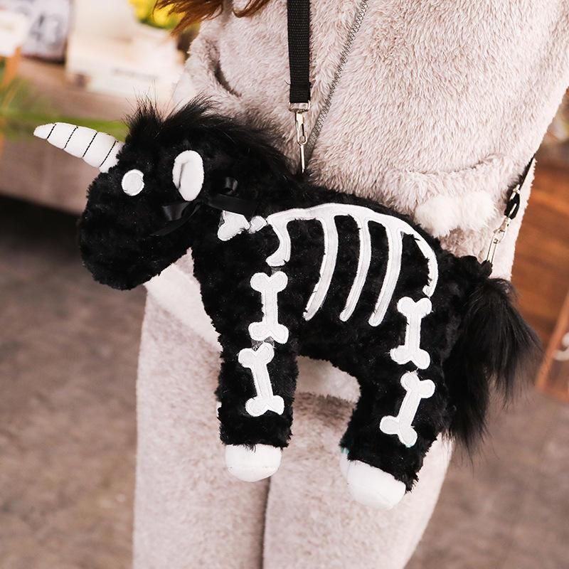 Pastel Goth Plush Unicorn Shoulder Bag Kawaii Pouch #JU2792-Black-40cm-Juku Store