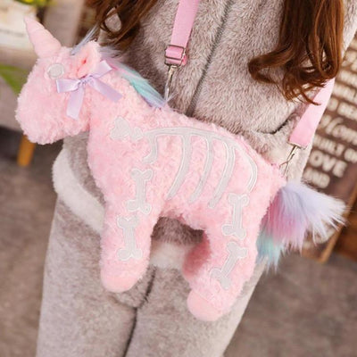 Pastel Goth Plush Unicorn Shoulder Bag Kawaii Pouch #JU2792-Pink-40cm-Juku Store