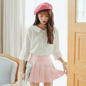 Pastel Half Pleated High Waist Mini Skirt [6 Colors] #JU1897-Juku Store