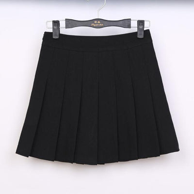 Pastel Half Pleated High Waist Mini Skirt [6 Colors] #JU1897-Black-S-Juku Store