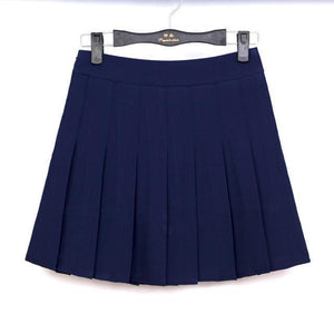 Pastel Half Pleated High Waist Mini Skirt [6 Colors] #JU1897-Navy-S-Juku Store