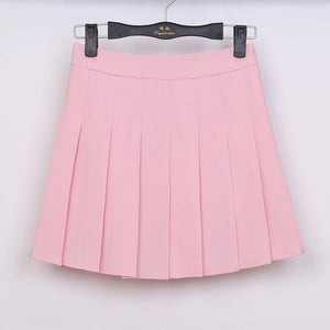 Pastel Half Pleated High Waist Mini Skirt [6 Colors] #JU1897-Pink-S-Juku Store